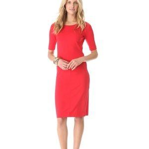 DVF Meeson red jersey sheath pencil dress